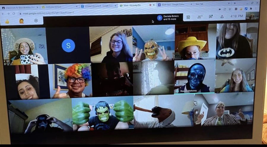 Central's Best Buddies hold regular meetings via Google Meet to continue to connect with each other online.