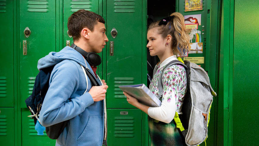 From the show Atypical some main character's, Sam Gardner and Paige, are shown interacting normally at school.  The characters in the show are constantly discussing important issues taking place in society.