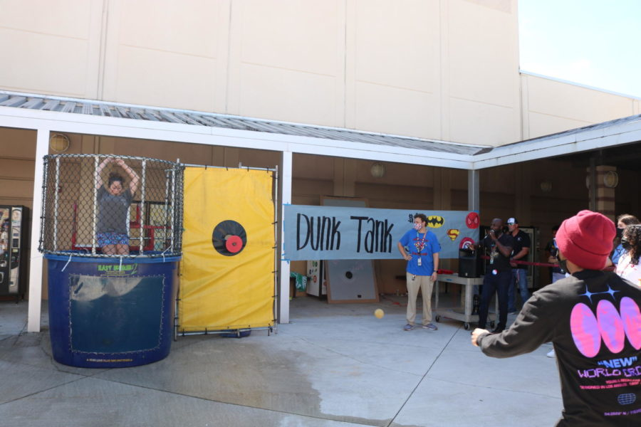 During both lunches, students lined up for a chance to dunk Ms. Lezark, AICE teacher and English Department co-chair.